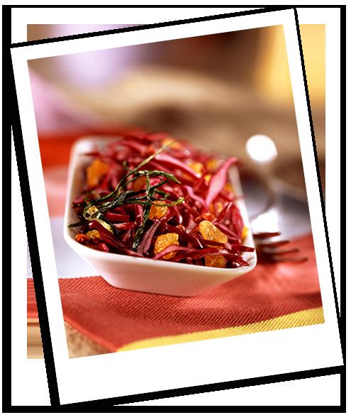 Salade de chou rouge aux raisins secs